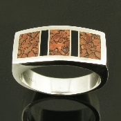 Man's sterling silver ring inlaid with dinosaur bone and black onyx by Mark Hileman. Three pieces of reddish-brown dinosaur bone with black webbing are accented by two pieces of black onyx