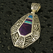 Handcrafted unique sterling silver pendant inlaid with Australian opal and sugilite by jewelry artisan Mark Hileman.