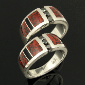 Sterling silver black diamond wedding set inlaid with dinosaur bone and black onyx :  jewelry handmade wedding hileman dinosaur bone