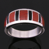 Red horn fossil coral inlay sterling silver ring :  wedding ring black onyx red coral jewelry