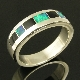 Sterling silver ring band inlaid with Australian opal and black onyx by Mark Hileman. The band is 6mm wide and is a size 10. The opal inlay is a nice dark blue-green.