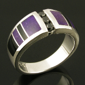 Unique black diamond ring inlaid with sugilite and black onyx in sterling silver.