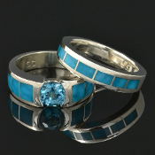 Turquoise bridal set featuring a blue topaz and turquoise inlay engagement ring and perfectly matched turquoise wedding ring.