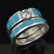 Beautiful turquoise wedding band and moissanite engagement ring set in sterling silver. Both the engagement ring and the matching wedding band are inlaid with beautiful blue turquoise.