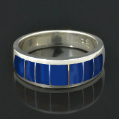 Handmade man's sterling silver band inlaid with lapis by Hileman Silver Jewelry.
