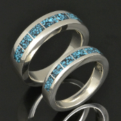 Kingman spiderweb turquoise wedding ring set handmade in sterling silver by Hileman Silver Jewelry.