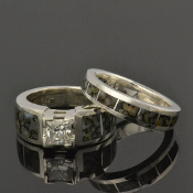 Dinosaur bone wedding ring and engagement ring set with princess cut white sapphire in sterling silver.