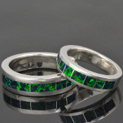 Matching lab created opal wedding ring set in sterling silver by Hileman Silver Jewelry.