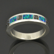 Dinosaur bone wedding ring with lab created opal inlaid in sterling silver by Hileman Silver Jewelry.