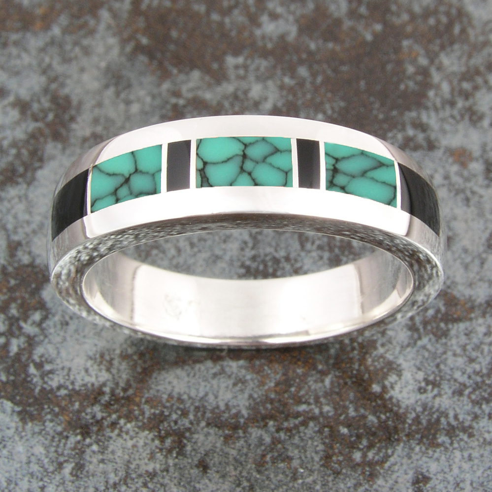 Wedding Rings c7 turquoise wedding ring Handmade wedding Man s handmade sterling silver ring inlaid with spiderweb turquoise and black onyx