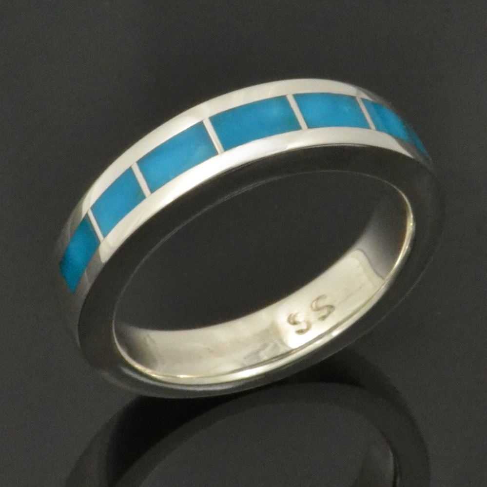 Turquoise Engagement and Wedding Ring Set