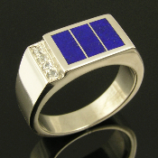 Unique sterling silver man's ring inlaid with bright blue lapis accented with pave` set white sapphires by jewelry artisan Mark Hileman.