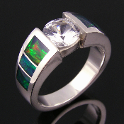 Opal inlay ring in sterling silver with sparkling white sapphire. Unique opal engagement or wedding ring by Hileman.
