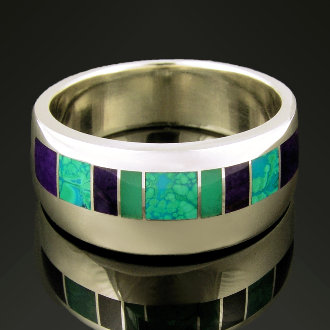 Unique sterling silver wedding set inlaid with chrysocolla, sugilite and chrysoprase. Matching his and hers alternative wedding bands.