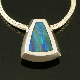 Handmade sterling silver pendant inlaid with genuine Australian opal.