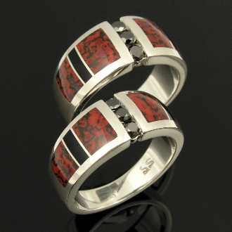 Bold his and hers sterling silver black diamond wedding set inlaid with red dinosaur bone and black onyx