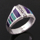 Australian opal and purple sugilite inlay sterling silver ring. The deep purple sugilite is separated by bright blue-green Australian opal on each side of the ring.