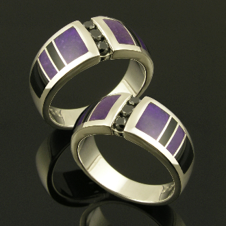Unique hers and hers sterling silver black diamond wedding ring set inlaid with sugilite and black onyx.