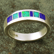 Lapis and Australian opal inlay ring in sterling silver by Hileman Silver Jewelry.