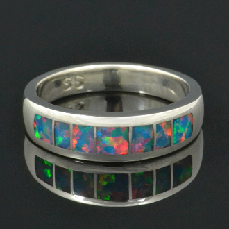 Lab created opal ring in sterling silver by Hileman Silver Jewelry.
