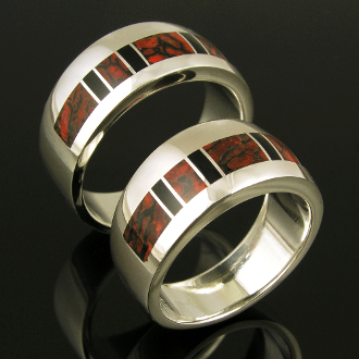 Dinosaur bone wedding ring set in sterling silver with black onyx accents by Hileman Silver Jewelry.