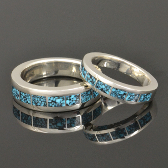 Spiderweb Turquoise Wedding Ring Set Hileman Silver Jewelry