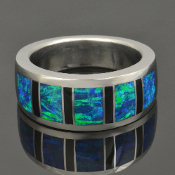 Lab created opal ring with black onyx handmade in sterling silver by Hileman Silver Jewelry.