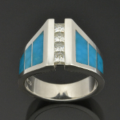 Turquoise wedding ring with moissanite in sterling silver by Hileman Silver Jewelry.