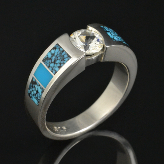 Turquoise engagement ring with white sapphire set in sterling silver by Hileman Silver Jewelry.