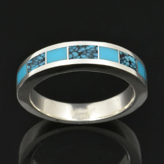 Turquoise Wedding Band with Sleeping Beauty plain blue turquoise and Kingman Spiderweb Turquoise Inlaid in Sterling Silver.
