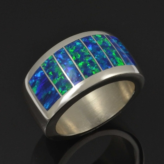 Wide lab created opal ring handcrafted in sterling silver by Hileman Silver Jewelry.