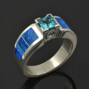 Lab Created Opal Engagement Ring with Blue Topaz Handcrafted in Sterling Silver by Hileman Silver Jewelry.