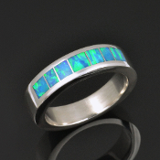 Lab created opal wedding ring in sterling silver by Hileman Silver Jewelry. Beautiful blue-green color that mimics top Australian opal.
