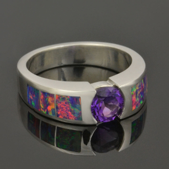 Lab Created Opal Engagement Ring with Amethyst Handcrafted in Sterling Silver by Hileman Silver Jewelry.