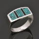 Unique handmade men's turquoise ring with black onyx inlaid in sterling silver. The turquoise is a beautiful blue with black webbing.