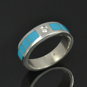 Diamond and turquoise wedding band in sterling silver by Hileman Silver Jewelry.