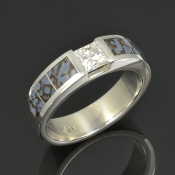 Men's dinosaur bone ring with a princess cut Moissanite handcrafted in sterling silver by Hileman Silver Jewelry.
