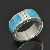 Woman's turquoise wedding band in sterling silver with moissanites.