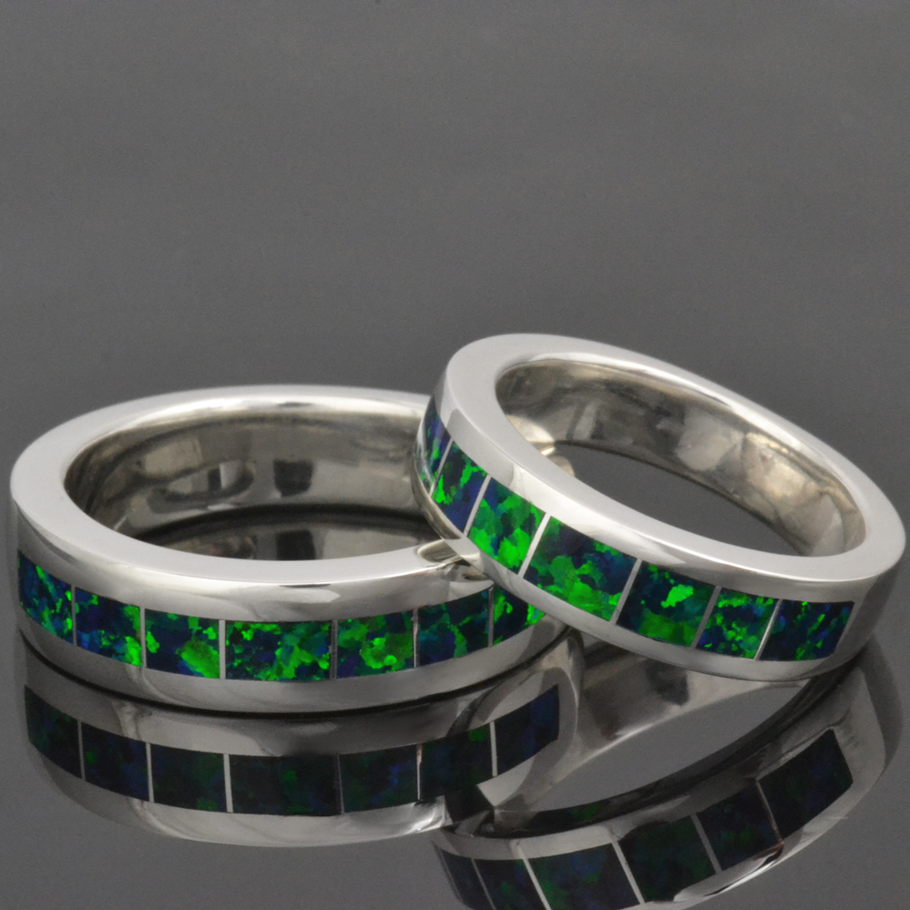 Lab created opal rings in sterling silver by Hileman Silver Jewelry.